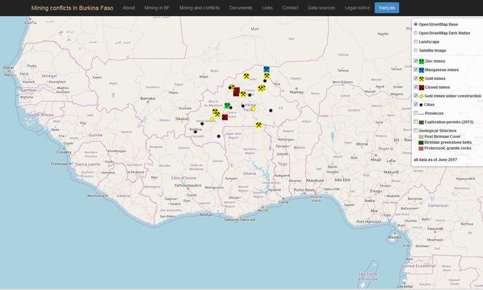 interactive web map Burkina Faso